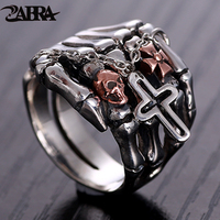 ZABRA Luxury 925 Sterling Silver Red Skull Ring Men Cross Charm Black Punk Rock Skeleton Hand Male Gothic Rings Jewelry