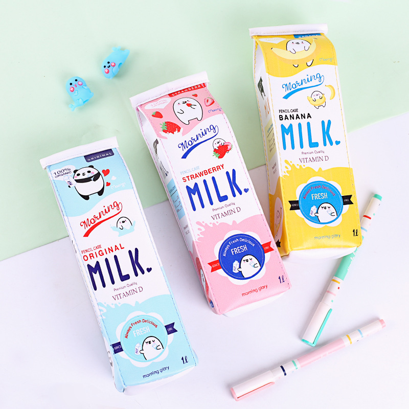 Cute Pencil Case Milk Shape Pen Case PU Waterproof Stationery Bag Small Object Storage Bag School Pencil Case