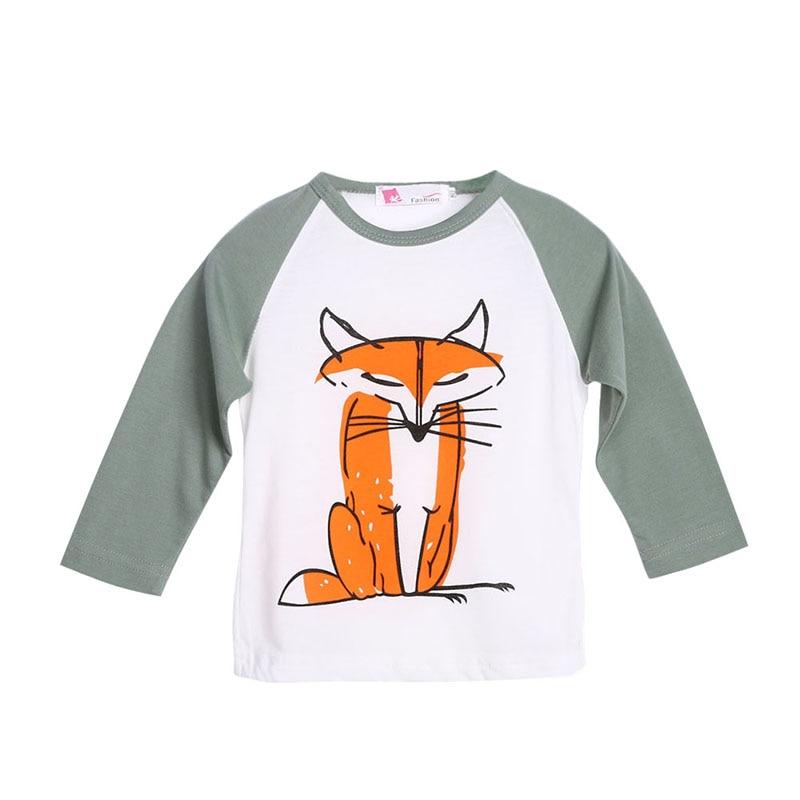 Criança Crianças Bebê Meninos Meninas Infantil Outono de Manga Comprida  Patchwork Fox T-Shirt Tops Roupas Camisetas de Algodão a9c60b9d6ea