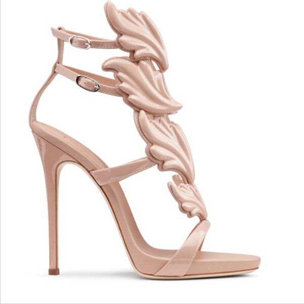 Hot Selling Nude Leafs Decorations Sandals High Heel Summer Sexy Open toe Cut-outs Dress Shoes Woman High Heel Gladiator Sandals hot selling denim blue ankle strap buckle high heel sandals cut out thick heel gladiator sandals for women summer dress shoes