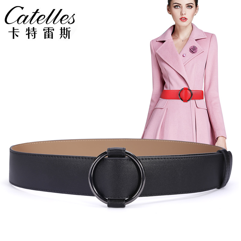 Catelles 2017 New Wide Belt Female Leather Cummerbund Decoration Skirt Sweater Black Red Wide Strap Female 4.8CM 5CM Belt