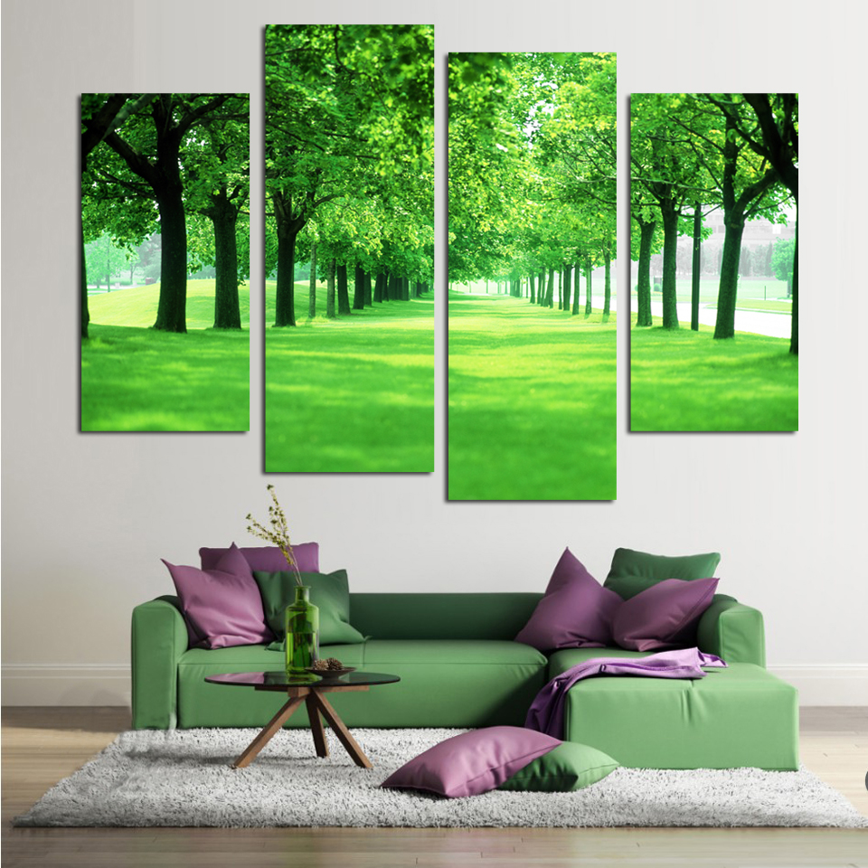Giveaway wall sticker 4 Panel Green Tree Canvas Painting Picture Cuadros Printed Landscape Painting For Living Room No Frame