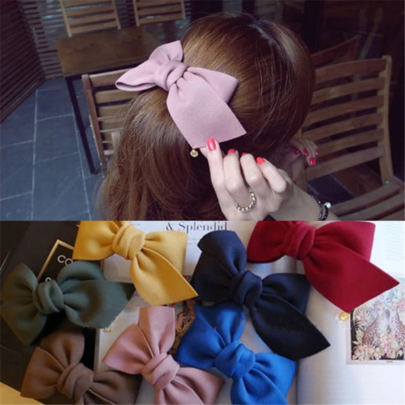HaimeikangFashion Big Cloth Bows Hair Clips Gilrs Sweet Bowknot Barrette Solid Hairpin   Headwear   Ladies Velvet Hair Accessories