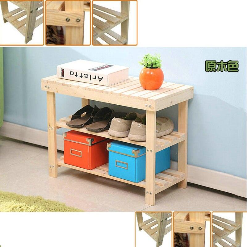 50CM Nature Color Pine Solid Wood Shoes Rack Shelf Storage
