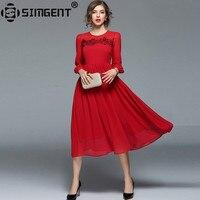 Simgent Nowy Rok Kwiatowym Haftem Kobiet Pełna Rękaw Szyfon Party Długa Plisowana Czerwona Sukienka Kobiety Odzież Vestido SG8138 Jurk
