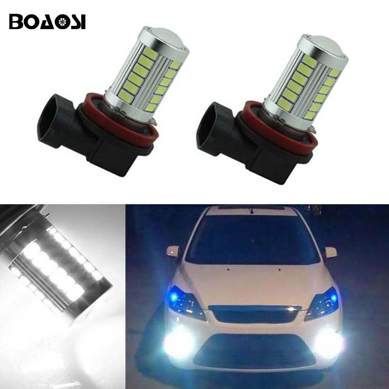 BOAOSI 2x H11 LED canbus 5630 Bulbs Reflector Mirror Design For Fog Lights For FORD MONDEO MK3 MK4 C-MAX S-MAX FOCUS 01+ FUSION boaosi 1x h11 led canbus 5630 33 smd bulbs reflector mirror design for fog lights no error for audi a3 a4 a5 s5 a6 q5 q7 tt
