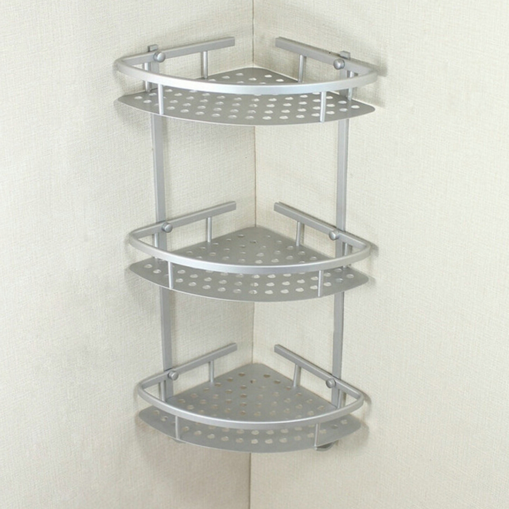 aluminium bad regal 3 tiers bad dusche regal bad shampoo halter basket halter. Black Bedroom Furniture Sets. Home Design Ideas