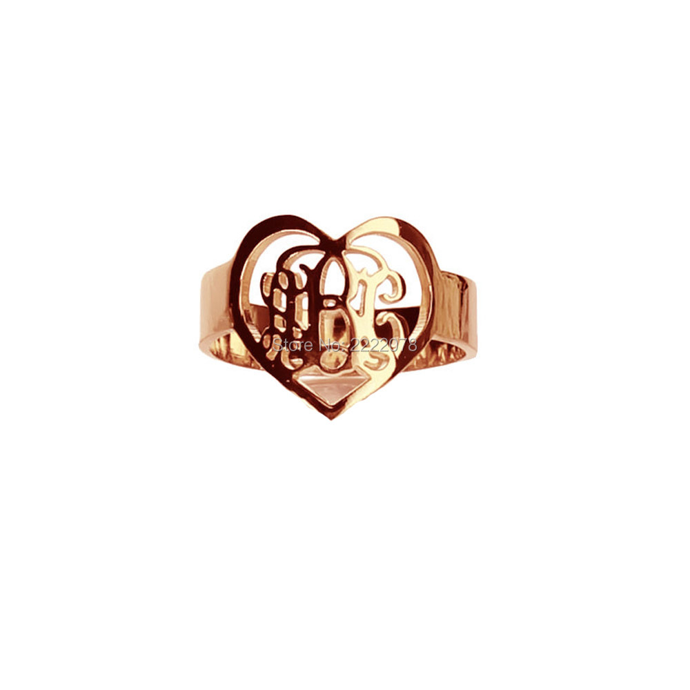 Personal Monogram 925 Solid Silver Rings Heart Symbol With3 Script