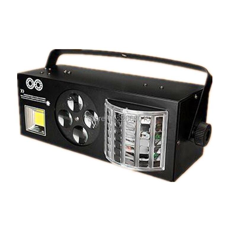 LED 4in1 Effect Stage Light, LED Butterfly Lights+RG Laser+4 Eyes Patterns Light +White Strobe DMX512 KTV Club Disco DJ Lighting