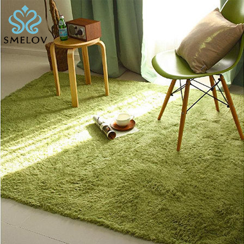 Super Soft Rectangular Carpet Solid Color Short Hair Silk