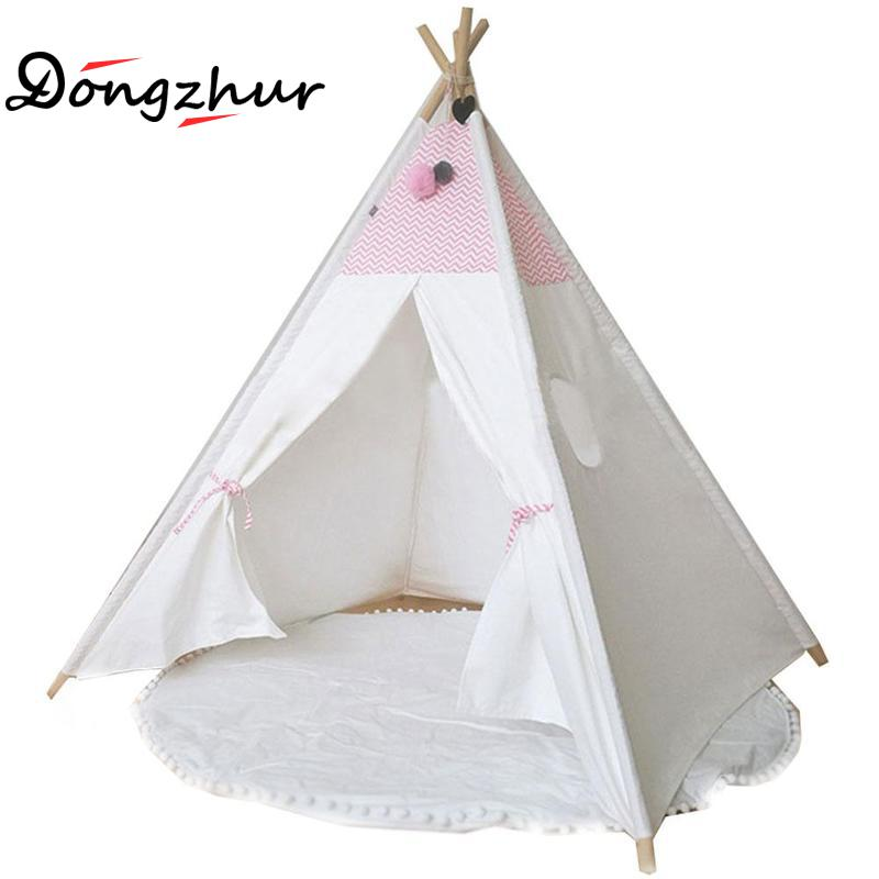 Dongzhur 4 Poles Kids Play Indian Tent Cotton Canvas Teepee Children Toy Tent White pink Play House For 0-3 Y Baby Room Tipi red chevron canvas dog tent house pet teepee tipi dog tee pee cat teepee