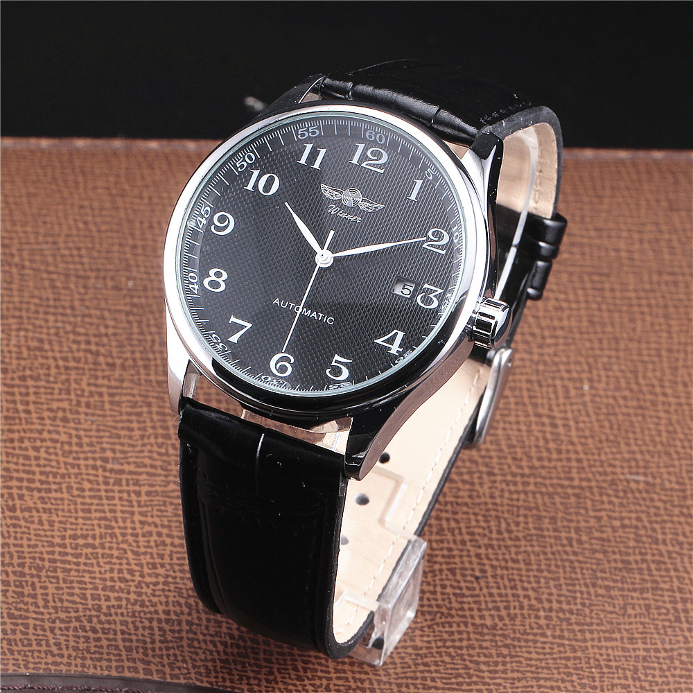 Winner Luxury Men Classic Date automatic Mechanical Watch Self-Winding Skeleton Black Leather/Stainless Steel Strap Wrist Watch