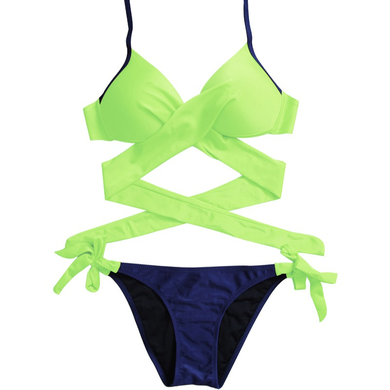 Women Summer New Style Personality Sexy Lace Up Solid Color Concise Cross-Tie Bikinis Set Polyester Beach Vacation image