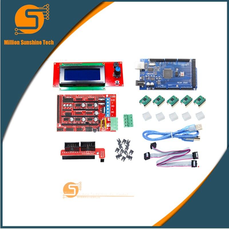 Livraison gratuite Kit imprimante 3D 2004LCD MEGA2560 R3 RAMPS1.4 carte de commande A4988 carte pilote pour imprimante 3D kit arduino