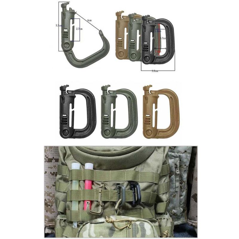 Tactical Backpack Clip Snap Portable D-ring Carabiner Key Ring Private Locking Outdoor Hiking Travel Kits Outdoor Tools 1PC