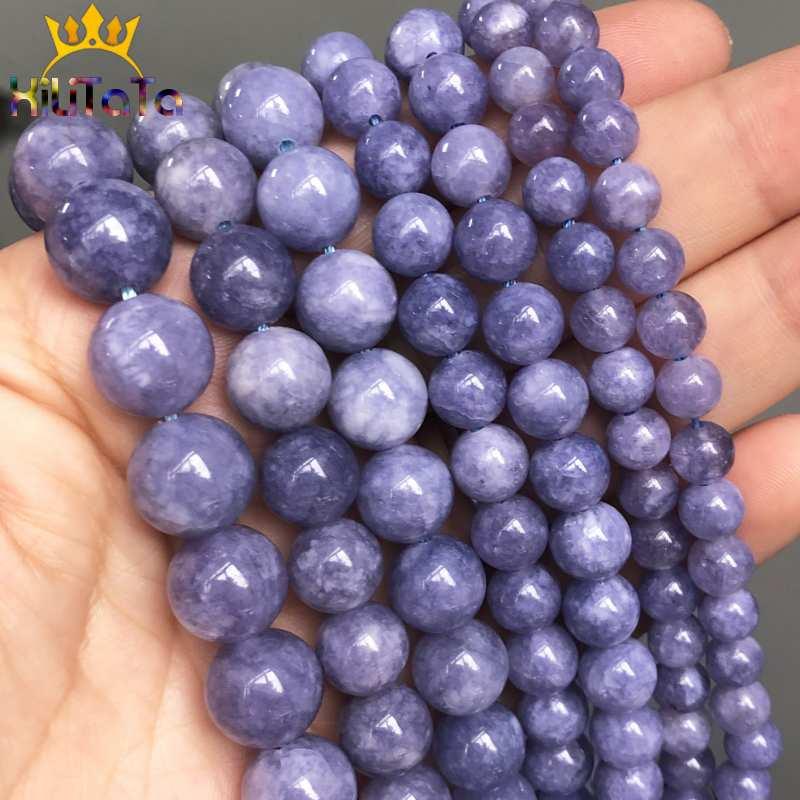 Natürliche Angelite Perlen Runde Blau Lose Stein Perlen Für Schmuck, Die DIY Armbänder Halskette Zubehör 15Strand 6/8/ 10/12mm