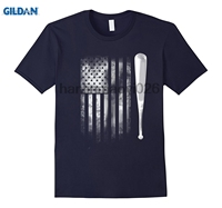 GILDAN Baseball Distressed American Flag US Team T Shirt