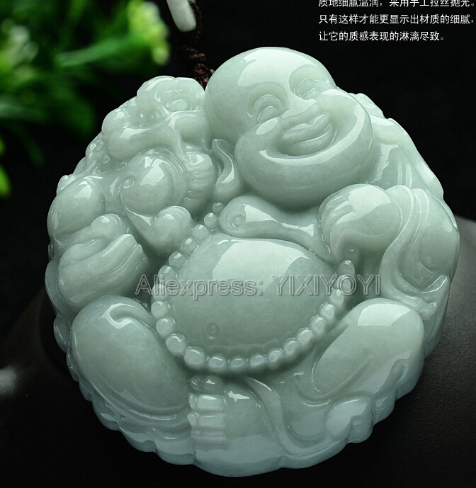 Beautiful Natural Green Grade A Jadeite Carved Big Belly Laugh Buddha Lucky Amulet Pendant + Free Necklace Certificate Jewelry