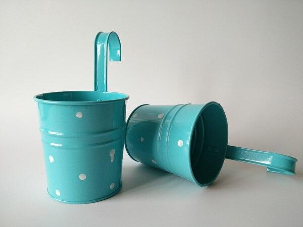 10Pcs/Lot D9.5*H17CM Metal Planter Hook Iron Planter Hanging Buckets wall hanging Baskets flower tub dot design Blue