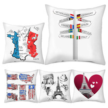Fuwatacchi 2019 Pillow Case National Flag Print Pillow Cases Country Flag Throw Pillow Cover Decorative Sofa Home Office Decor