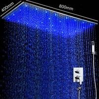 Настенный душевой набор, потолочный светодиодный душ, насадки для горячей и холодной душа, смеситель для ванной комнаты, светильники, роско