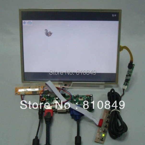 HDMI+DVI+VGA Control board+12.1inch 1024*768 HT121X01 LTN121XJ Lcd + Touch panel 8 4 8 inch industrial control lcd monitor vga dvi interface metal shell open frame non touch screen 800 600 4 3