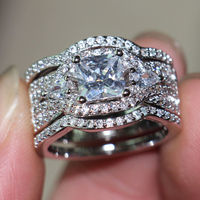 Victoria Wieckl Deluxe Jewelry Women Handmade Diamonique Cz Simulated Diamond 10KT White Gold Filled 3 Wedding
