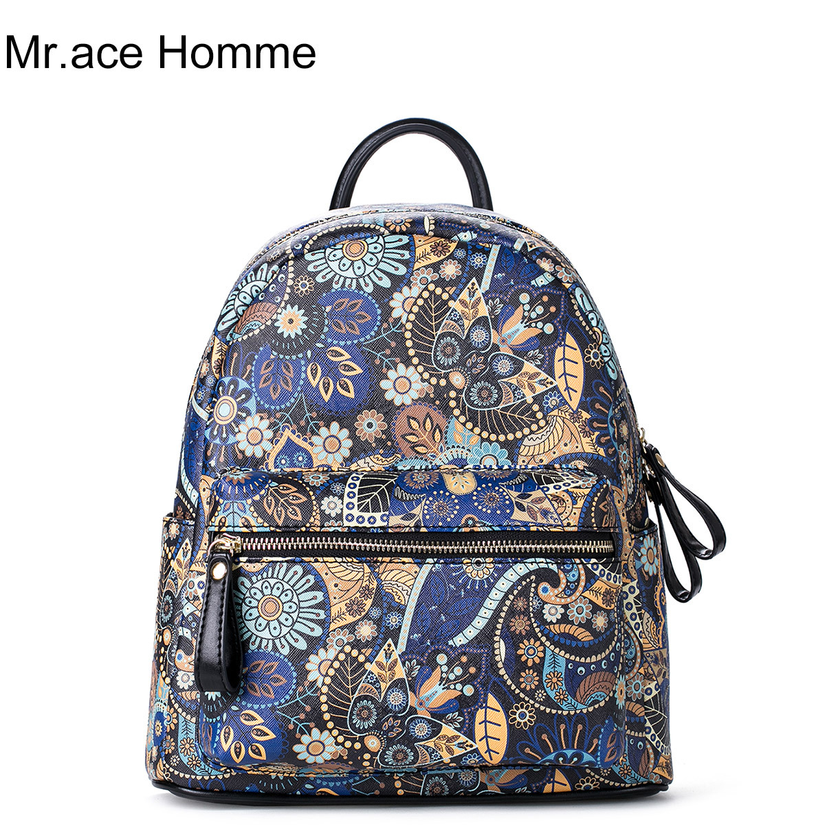 Mr ace Homme Fashion Women PU Leather Backpacks Teenage Girl Schoolbag Small Flower Printing Satchel High