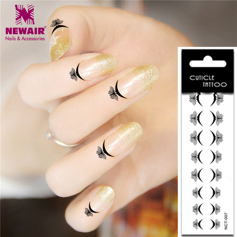 High Quality 8 Design Cuticle Tattoos 20X Waterproof Temporary Fake ...