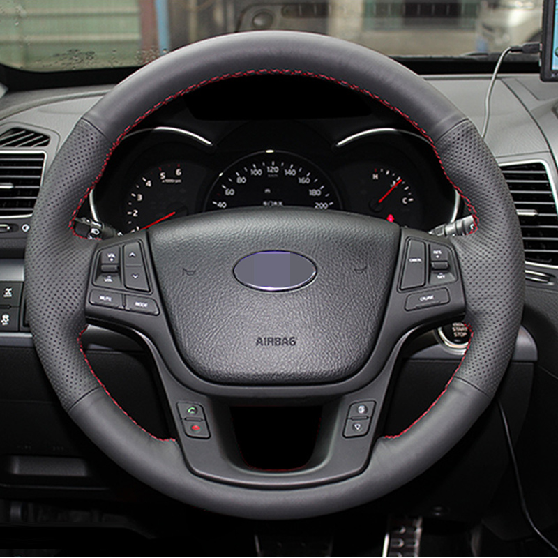 Hand-stitched Black Leather Steering Wheel Cover for Kia Sorento 2009-2014 hand stitched black leather steering wheel cover for kia sorento 2009 2014