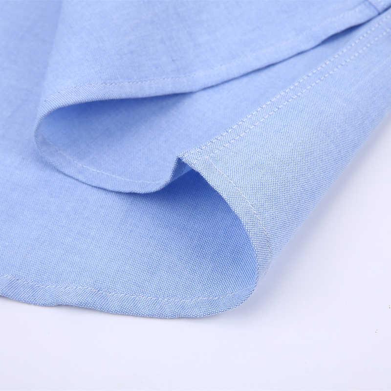 Langmeng 2018 hombres moda Casual Vestido de manga corta Camisa ajustada Fit Hombre Social negocios oxford camisa casual marca ropa para hombre