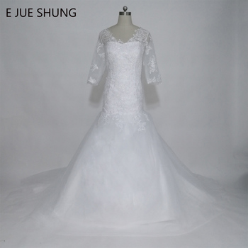 E JUE SHUNG robe de mariee White Lace Appliques Mermaid Wedding Dresses V-neck 3/4 Sleeves Wedding Gowns vestido de novia