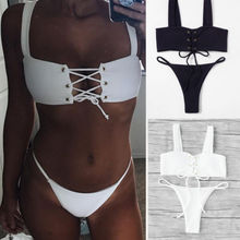 Women Bikini Set Push Up Padded Rope Black White