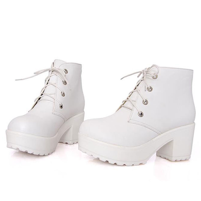 d8cb941b36c US $14.68 25% OFF|Punk Style Women Boots Chunky Heels PU Leather Ankle  Martin Boots Platform Shoes Woman Black White 2colors Zapatos Mujer  WSH2201-in ...