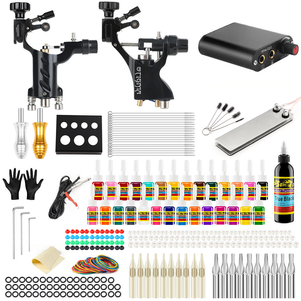 Stigma 2019 New Complete Professional Tattoo Machine Kit Sets 2 Rotary Machines for Body Art Color Inks Power Supply TK204-19