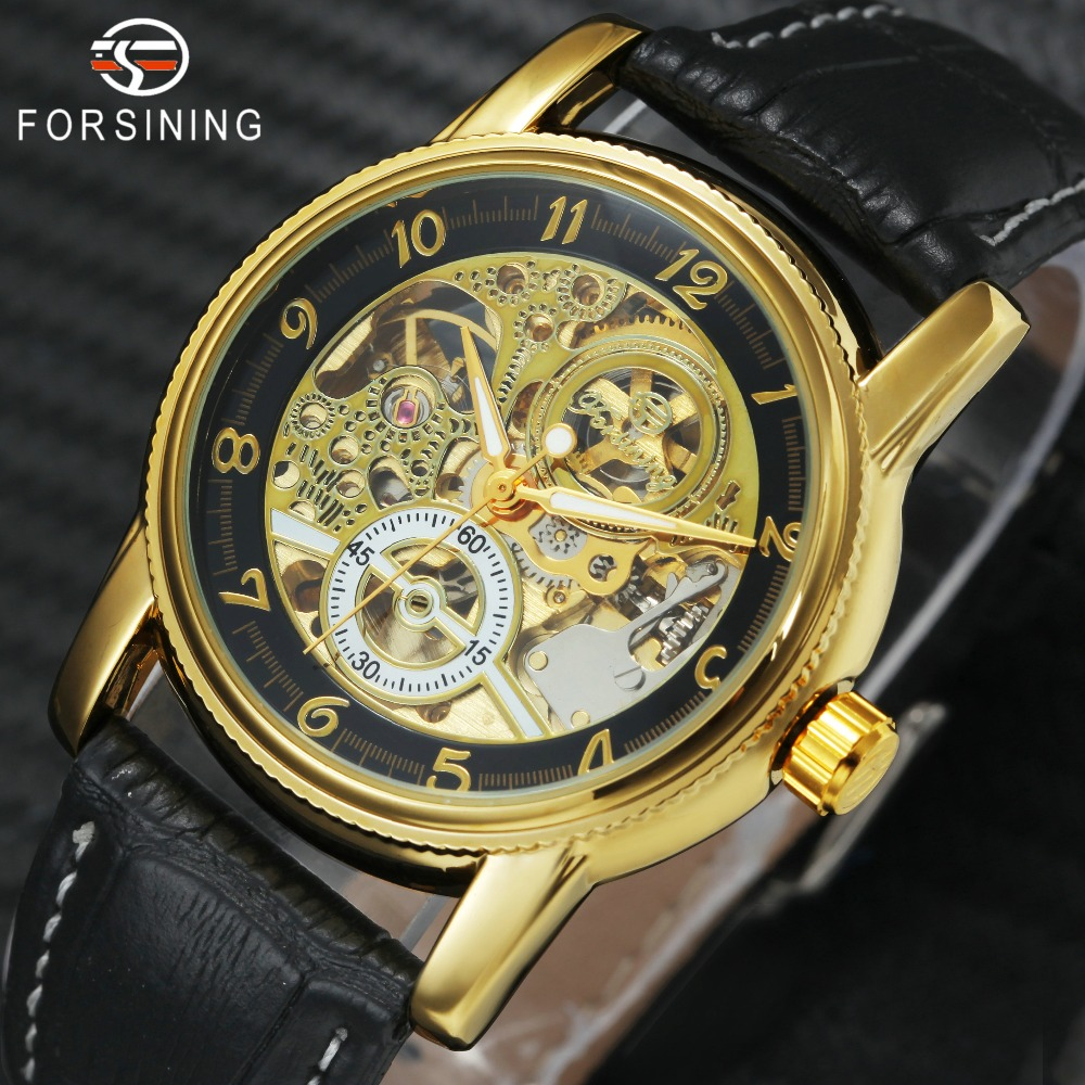 bfc916f68 FORSINING Royal Classic Men Automatic Mechanical Watch Leather Strap Golden  Skeleton Dial Transparent Case Fashion Wrist Watches