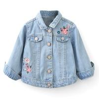 New Girls Denim Jackets Coats Light Blue Embroidery Children Outwear Lovely Child Clothing Spring Autumn Kids