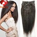 Yaki brasileiro grampo em extensões de cabelo 100% não transformados virgem cabelo pesado grosso Yaki reta clipe ins 10 pecs / set