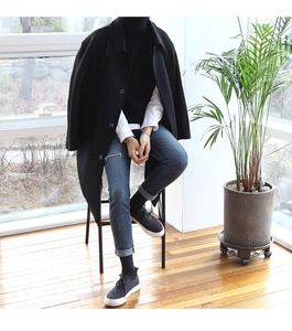 Image 2 - Casual Koreanische Stil Männer Wolle Mischung Mantel Lange Kaschmir Jacke Einreiher Herren Mäntel
