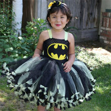 Girl Tutu Dress Super Hero Party Dresses with Knotted Brim Kids Fancy Clothing Cosplay Batgirl Costume Christmas Baby Vestidos(China)