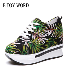 E TOY WORD Women Sneakers Platform Fashion Print Canvas Woman Casual Shoes Height Increasing Breathable Lace-Up Wedge Sneakers akexiya women breathable mesh lace up casual platforms shoes height increasing rocking shoes sports wedge sneakers