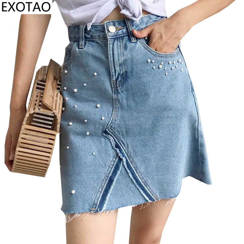 Kobeinc Design Pearl Decorated Denim Skirts For Women A Line High Waist Faldas Summer Mini Skirt