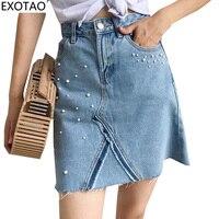 Kobeinc Design Pearl Decorated Denim Skirts For Women A Line High Waist Faldas Summer Mini Skirt