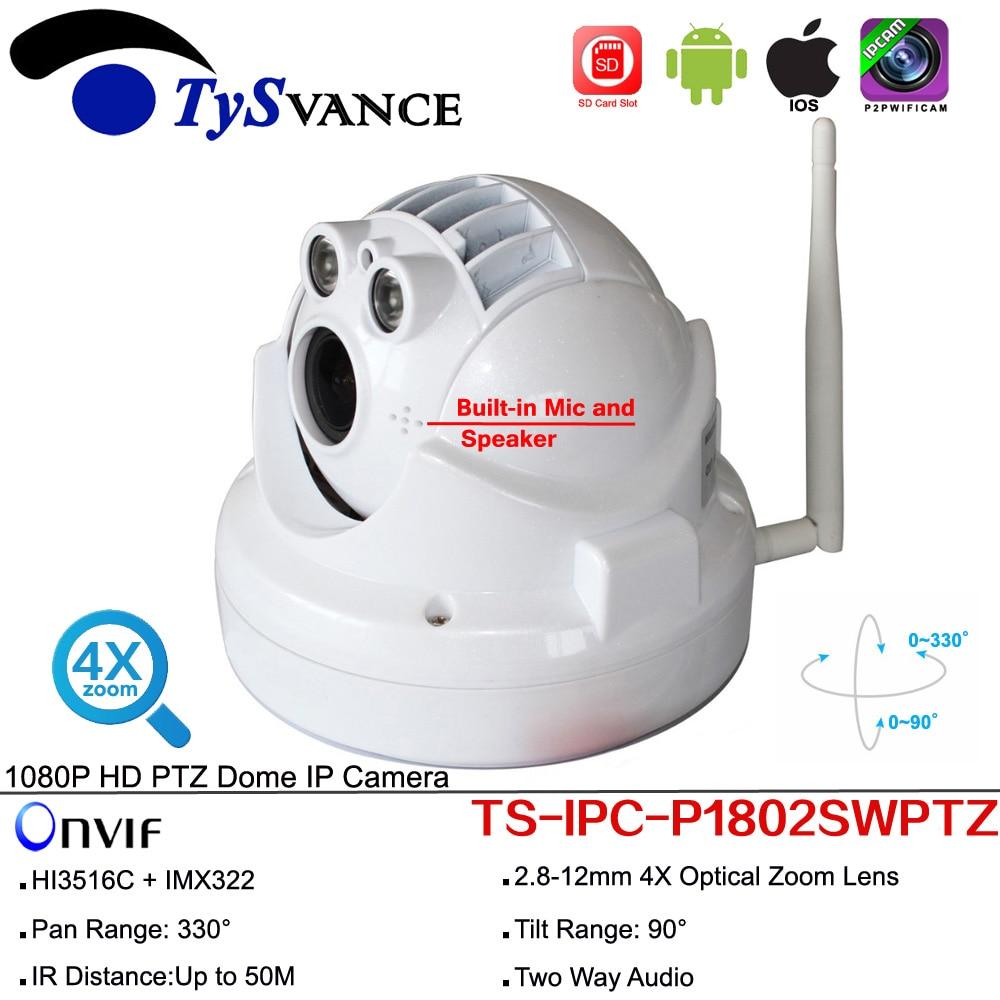 Full HD 1080P 2MP 960P Wireless Wifi Pan Tilt MINI PTZ 4X Zoom Dome IP Camera CCTV ONVIF Two Way Audio Security Surveillance цена