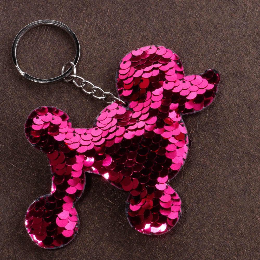 Saco de Cachorro Poodle Chaveiro Pingente bonito Reflexivo Brilhante Lantejoulas Coloridas Saco Carro Pingente Acessórios Anel Chave