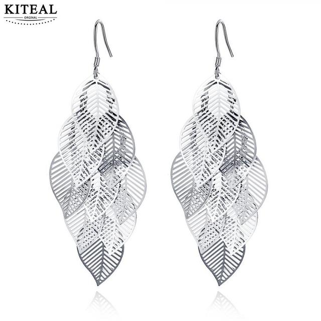 KITEAL 925 New Beautiful Fashion silver plated  dangling earrings for female Leaves  earrings  pendientes Top Quality Jewelry