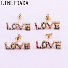 8Pairs Gold color Rainbow CZ English Letter Stud, Colorful jewelry Stud Earrings  for Women Jewelry