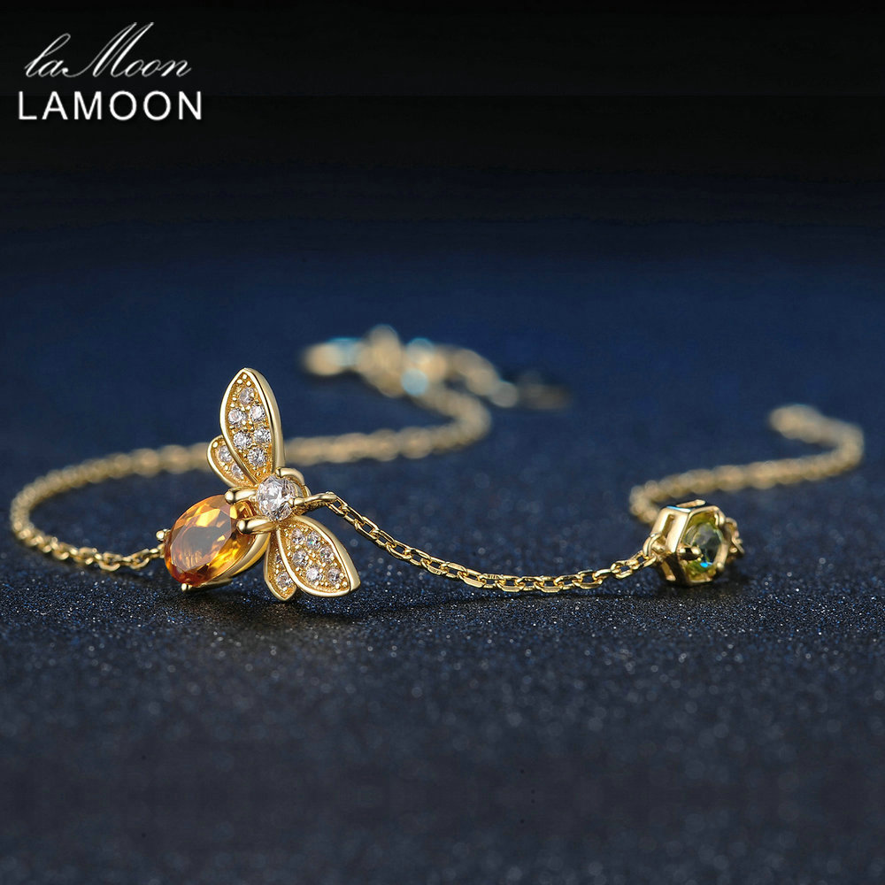 LAMOON Lovely Bee Brecelets for Women 100 Natural Citrine 925 Sterling Silver Fine Jewelry Charm Bangles
