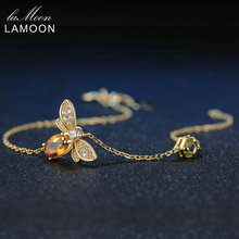 LAMOON Lovely Bee Brecelets for Women 100% Natural Citrine 925 Sterling Silver Fine Jewelry Charm Bangles Hand Accessory LMHI002