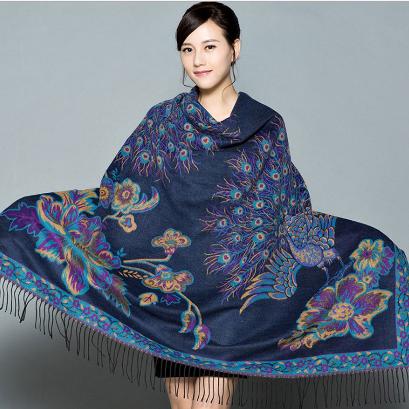 Double Sides Winter New Women's Pashmina Cashmere Shawl Large Squar Peacock Scarf Oversize Soft Wrap Thick Blanket Poncho